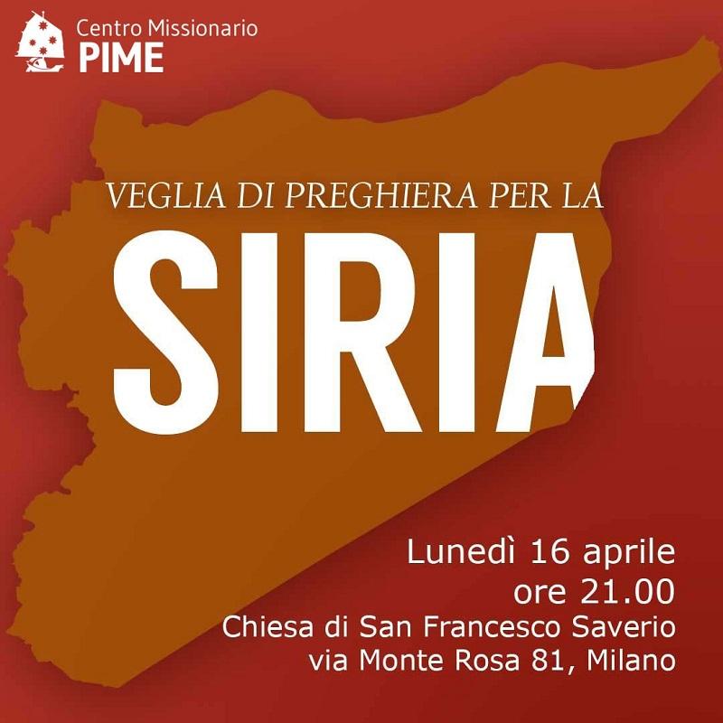 Al Pime lunedì 16 preghiera per la pace in Siria